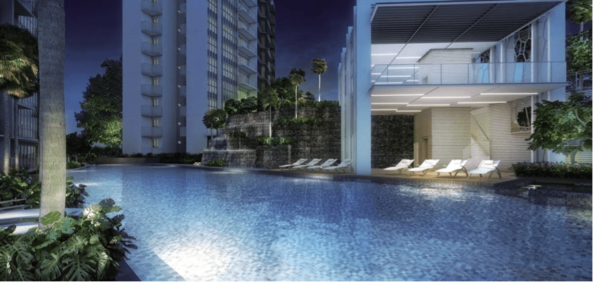 Bartley Residences pool view in the evening