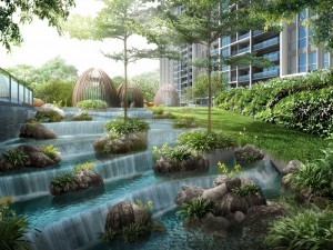 Pleasant cascading water features in Bartley Ridge