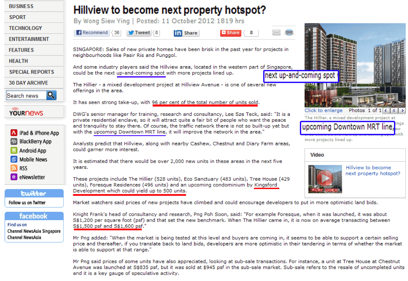 News Article on Hillview- next property hotspot?