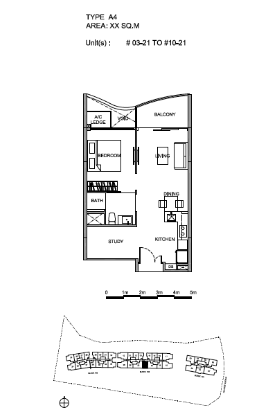 Hillview Peak 1+Study bedroom floor plan