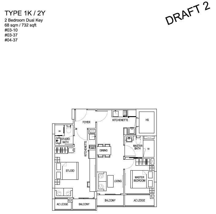 Kensington Square Residential 2 Bedroom Dual Key   Condosingapore
