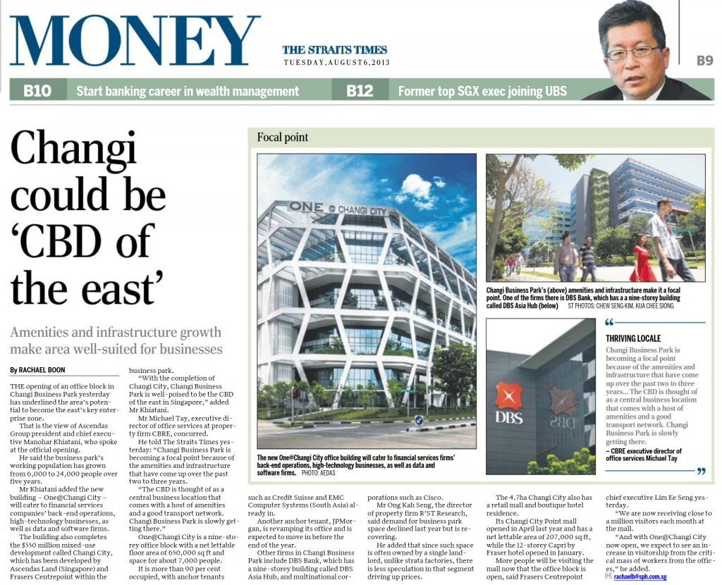 Singapore Property News article about One@Changi City
