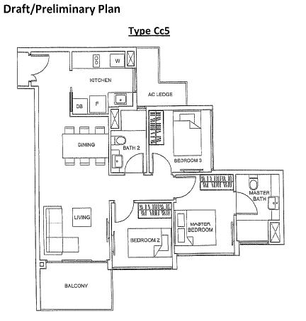 The Glades condo@ Tanah Merah floor plan - 3 bedrooms