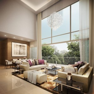 """""""The Glades"""" with high ceiling units next to Tanah Merah MRT"""