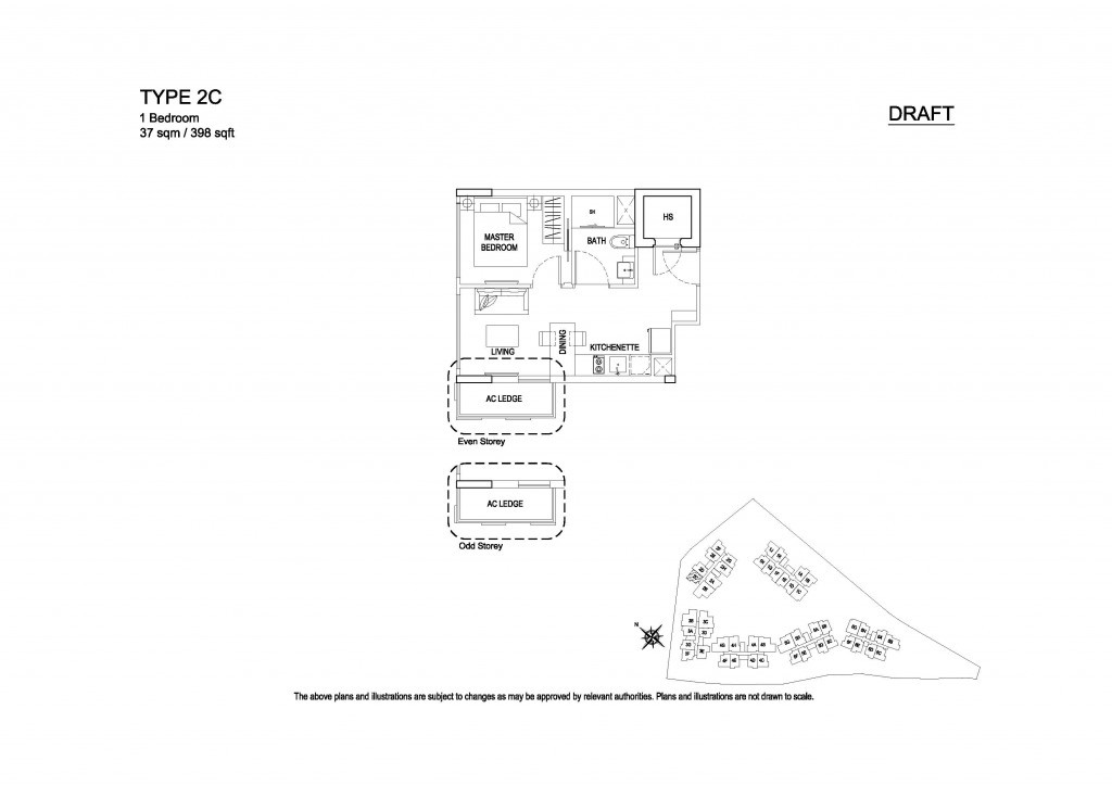 Hillford 1 Bedroom floor plan