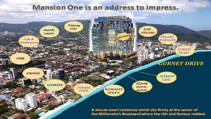 Mansion One-Luxury Condominium in mixed-development @Gurney Drive; aka the Millionaires' Boulevard!