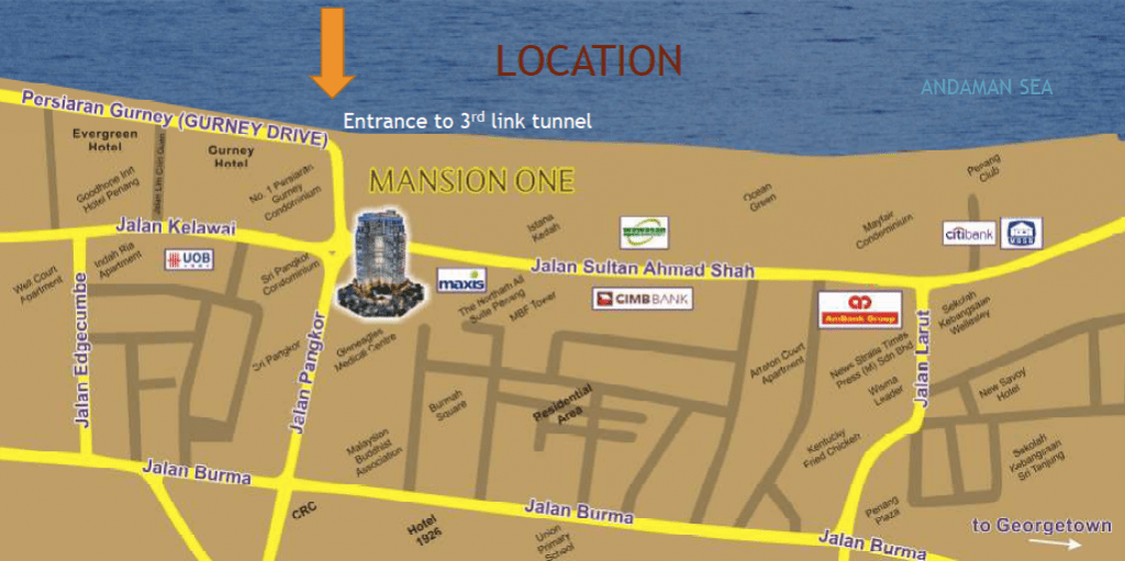 Mansion One, Penang Malaysia located at Gurney Drive overlooking Andaman Sea, walk to Beach, Shopping mall.