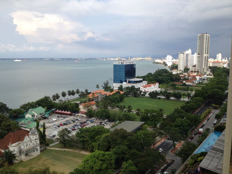 Panoramic view of the sea from one of the actual units in Mansion One Penang Malaysia