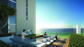 Outdoor terrace with sunshine beach apartments.