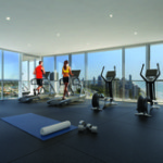 Rhapsody fully equipped gym with stunning views.