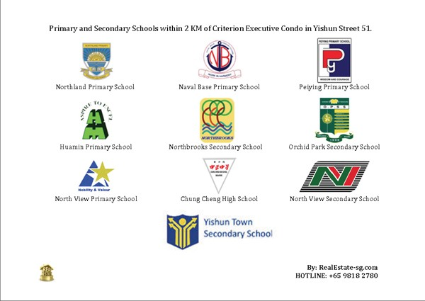 Primary and Secondary Schools within 2 KM of Criterion Executive Condo in Yishun Street 51